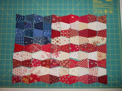 INSPIRED BY ANTIQUE QUILTS - patriotic quilt would be really quick using the Go cutter tumbler die!!