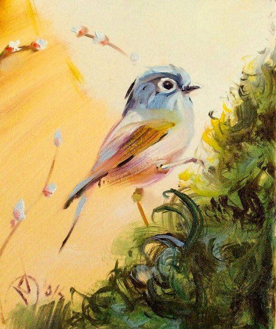 Whimsical Bird Oil Painting Bird art oil painting by ARTbyRumbetix
