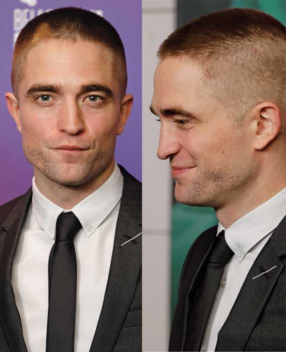Robert Pattinson sparked comments on Social Media with his new short hair skinhead haircut at the Good Time premiere - Photos courtesy of Image.net / John Phillips / Getty Images for BFI / Atlantic Images