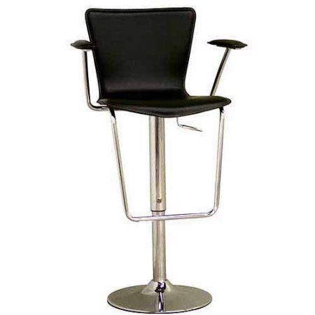 Wholesale Interiors inch Bonded Leather Adjustable Bar Height Stool Black