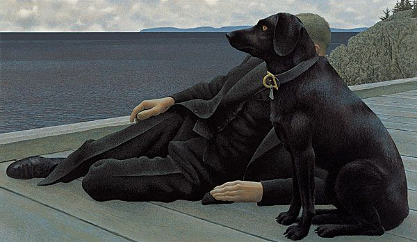 Dog and Priest — painting by Alex Colville 1978- egyptian interest. obscuring the face is very purposeful- telling a narrative rather than going straight to the face.
