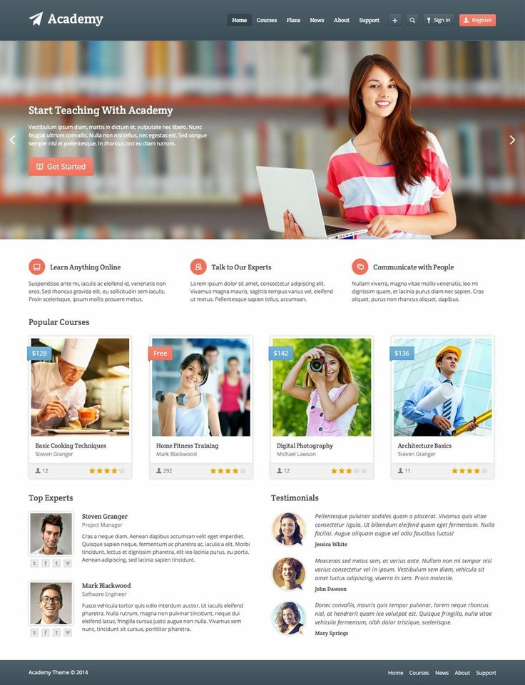 A learning management system WordPress theme