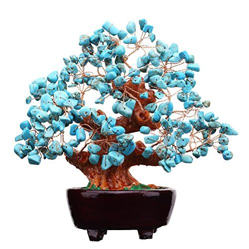 7 Inch Natural Turquoise Gem Stone Money Tree Feng Shui Crystal Quartz for Business Office Home Wealth and Good Luck ** Check out the image by visiting the link.