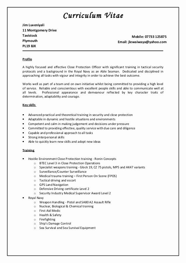 Lovely Door Supervisor Cv Sales Resume Examples Sales Resume Close Protection