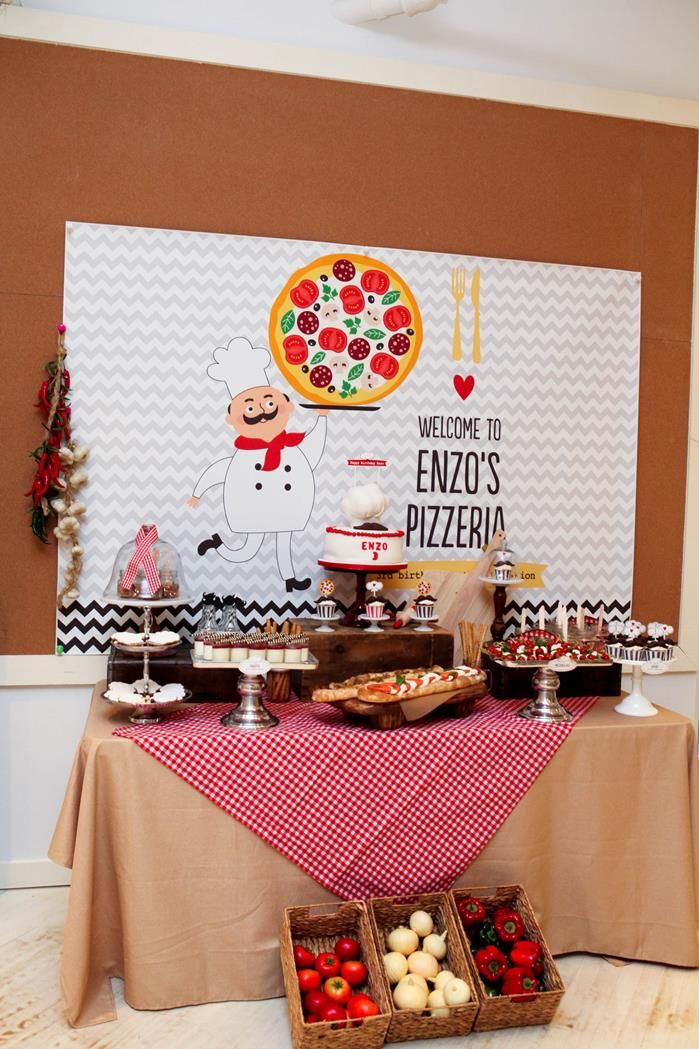 Pizza Themed Birthday Party with REALLY CUTE IDEAS via Kara's Party Ideas : The Food Table