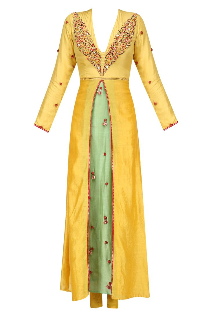Pitambari yellow box pleated embroidered kalidaar kurta set available only at Pernia's Pop Up Shop.