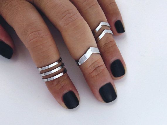 Knuckle ring set Double chevron midi ring set / by AshkalJewelry