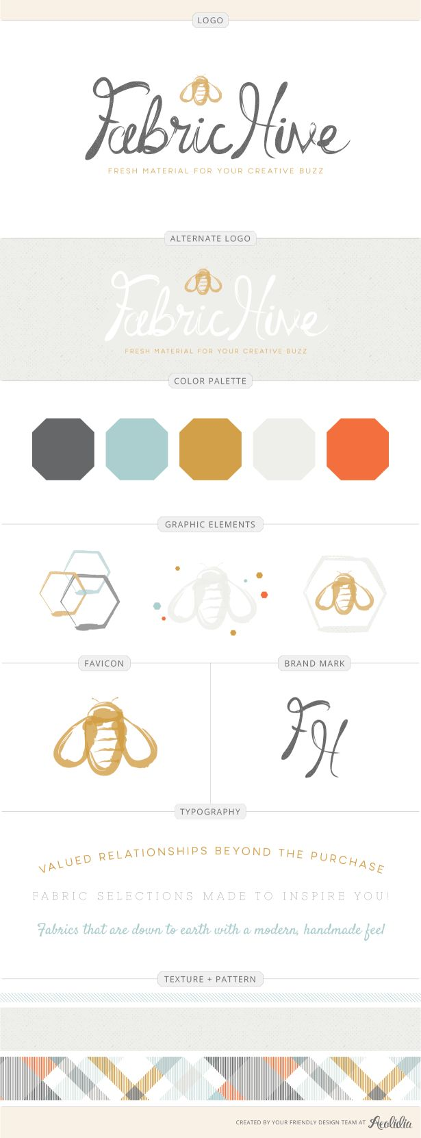 Fabric Hive logo and identity by Aeolidia.