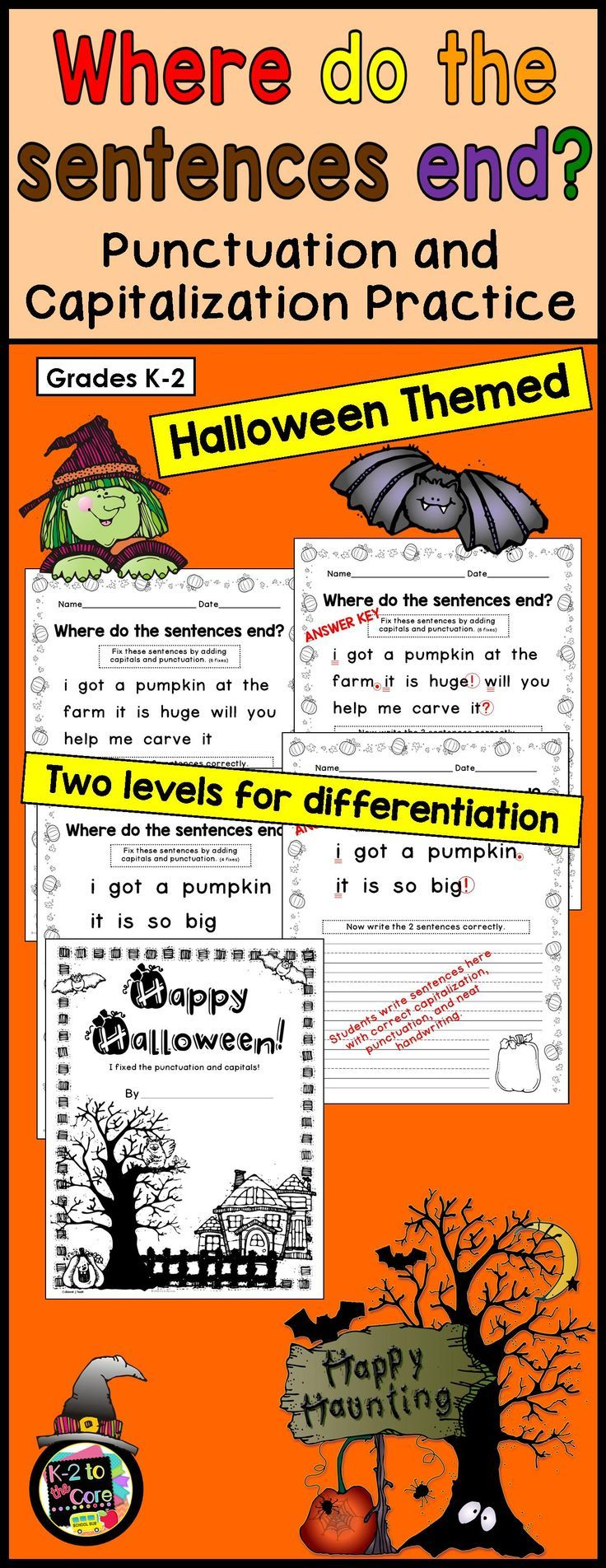 Provide your students with capitalization and punctuation practice with these differentiated editing and writing practice sheets. Each page has two or three Halloween-themed sentences with missing capitals and punctuation. Your students' job is to figure out where the sentences end, edit the sentences, and then rewrite them with correct capitalization and punctuation, as well as neat handwriting.