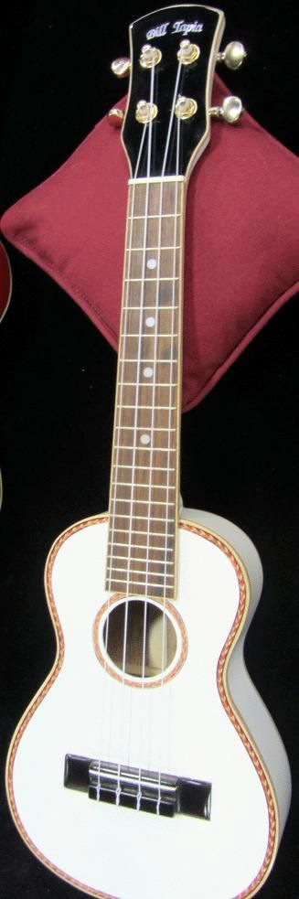 Bill Tapia white Concert and red Tenor (I know they were over priced when they came out and never really caught on but for a sensible price they do look nice. I know the red one is still available - and still overpriced - but I liked the white one more) --- https://www.pinterest.com/lardyfatboy/