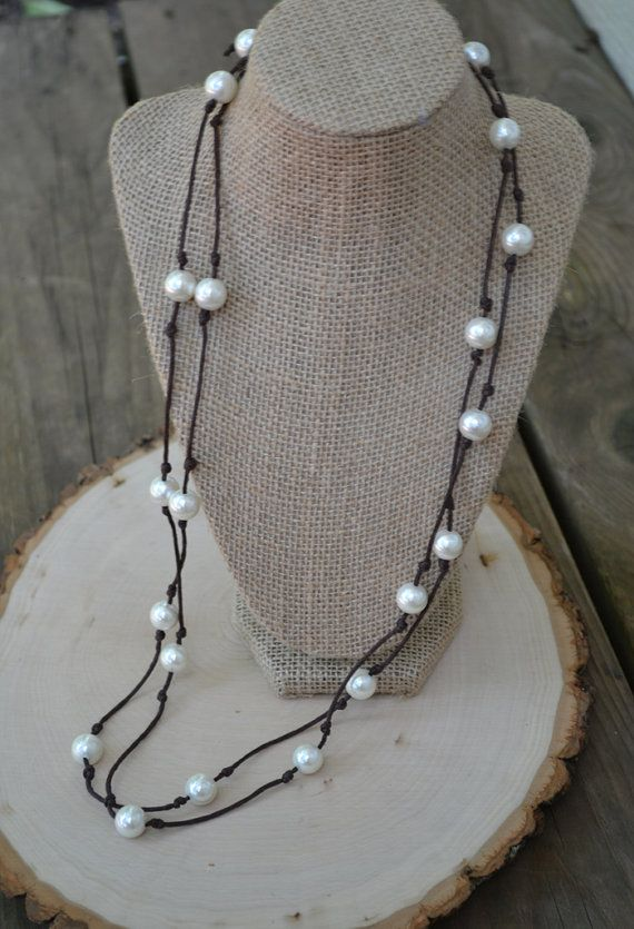 Versatile extra-long faux pearl and vegan leather double wrap necklace. Also can be worn as a wrap bracelet!