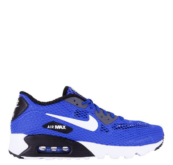 This bold colorway includes a racer blue mesh upper with a white Nike swoosh on the side. The upper also features synthetic leather while the black and white sole features a visible Air Max unit. The
