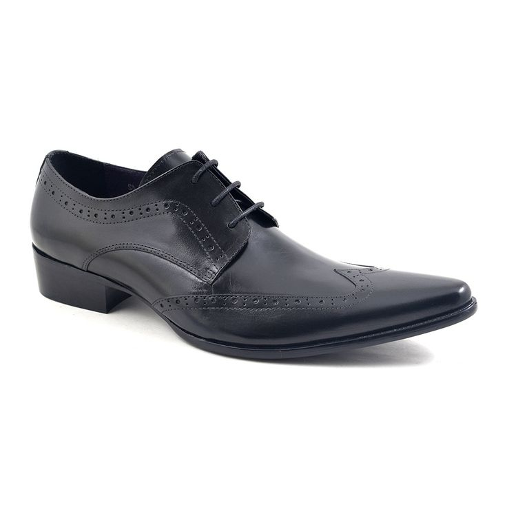 Need pointed toe black derby shoes? These have a wing tip and are crafted in