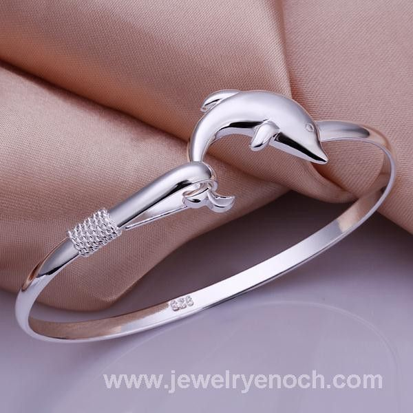 Copper alloy dolphi shape solid silver bangle