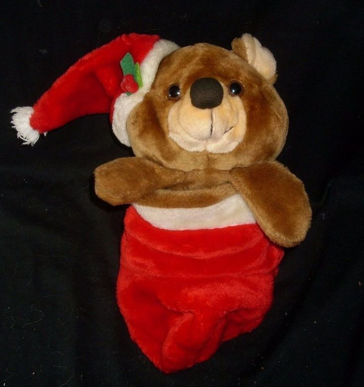 """16"""" VINTAGE CHRISTMAS SMITHY TEDDY BEAR HANGING RED STOCKING PLUSH FLIPS OUT"""