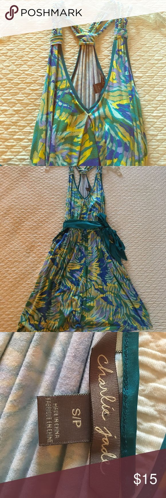 """Charlie Jade tropical print dress size small Ready for spring/summer in very good preowned condition Charlie Jade tank dress with braided straps and removeable tie at waist. Overall length from top of shoulder to bottom hem is 33"""" so hits above knee on me and I am 5'5"""". Size small, be sure to check out my closet! Charlie Jade  Dresses Mini"""