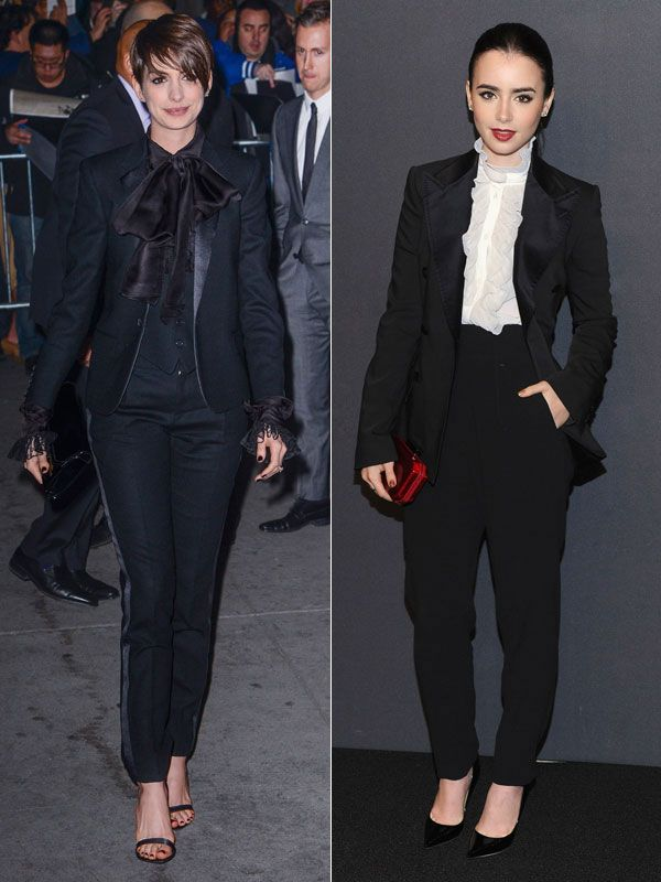 anne Hathaway & lily collins | tux w/frills