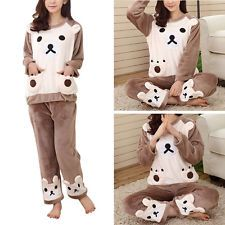 Le donne autunno inverno in Pile Pullover T-shirt + Pants Cartoon Pigiama Sleepwear