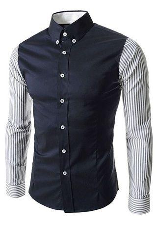 Camisa Casual Fashion con Mangas a Rayas - en Dos Colores - Azul y Blanca