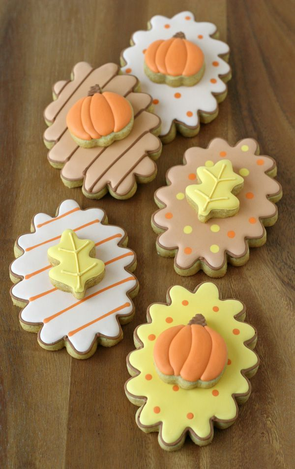 Double-Decker Fall Decorated Cookies with step-by-step tutorial