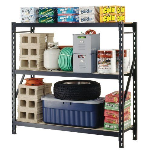 """Sandusky Lee 7224PRB Black Heavy Duty Steel Particle Board Welded Storage Rack, 72"""" Height x 77"""" Width x 24"""" Depth, 3 Shelves by Sandusky Lee. $271.57. Industrial strength, heavy duty welded steel frames and beams. Particle board shelves hold 1200 lbs per shelf and adjust on 3"""" centers. Frames link together. Assembles in minutes. Mobile: 2. Visible door. Black color. Measures 72"""" height by 77"""" width by 24"""" depth."""