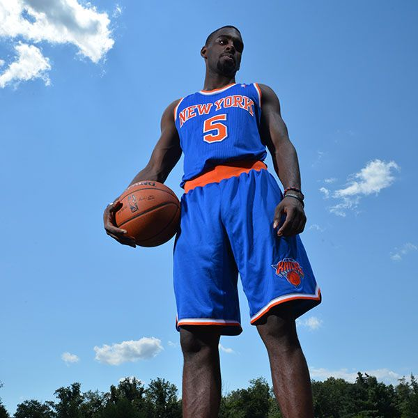 Tim Hardaway Jr. of the New York Knicks poses for a portrait during the 2013 NBA Rookie Photo Shoot on August 6, 2013 at the MSG Training Facility in Tarrytown, New York. (Photo by Jesse D. Garrabrant/NBAE via Getty Images)