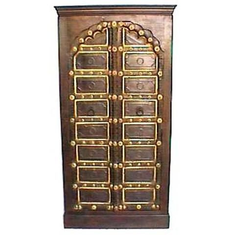 Antique Wooden And Brass Old Palace Door Cupboard Or Wardrobe - FOLKBRIDGE.COM   Buy Gifts. Indian Handicrafts. Home Decorations.