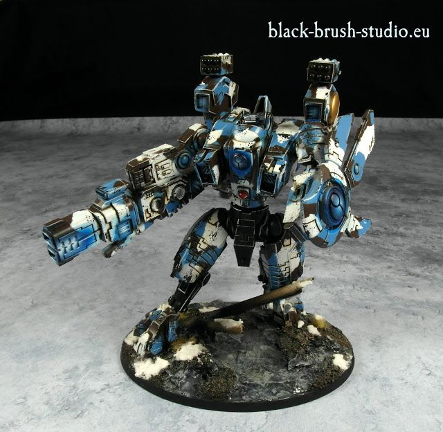 Black Brush Studio - Miniature painting services: Tau Empire: XV104 Riptide Battlesuit  in Winter Camo Scheme