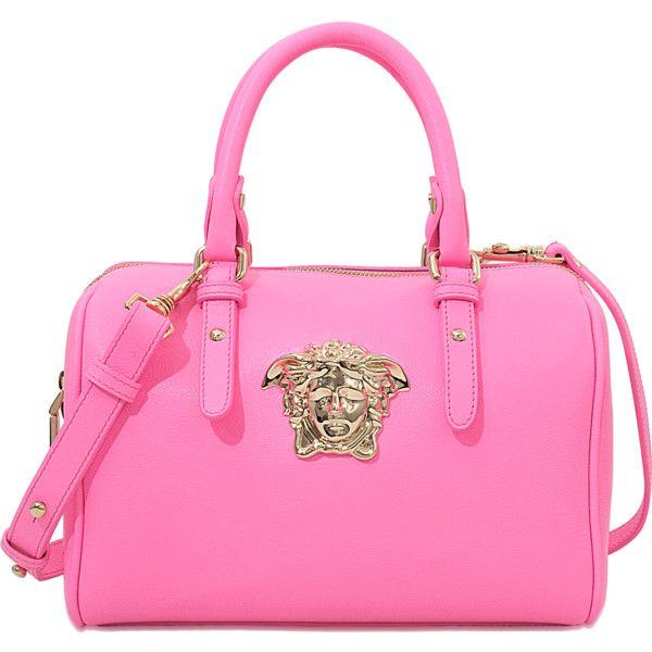 Versace PALAZZO SMALL BOWLING BAG ($980) ❤ liked on Polyvore featuring bags, handbags, pink, versace bags, bowler bag, bowler handbag, versace and versace purses