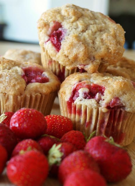 """Recipe for Strawberry Muffins Vegan and Gluten Free  - This is a vegan recipe, but the Earth Balance margarine gives these fluffy muffins a nice """"buttery"""" taste. I use light spelt flour, but regular flour would be fine too."""