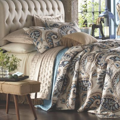 Bring in a sense of elegance with this bold and sophisticated paisley print in shades of ocean teal and tan. Kincardine Paisley Over sized Quilt and Sham from Country Door