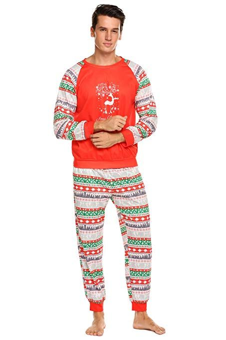 5804b655a4 Teeker Christmas Family Pajama Set Holiday Macthing Loungewear PJ Sets Elk  Red at Amazon Women s Clothing store