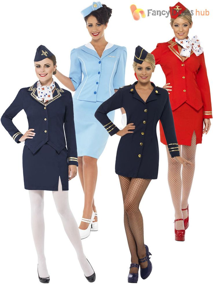 Ladies Air Hostess Costume Stewardess Cabin Crew Fancy Dress Uniform Womens    eBay