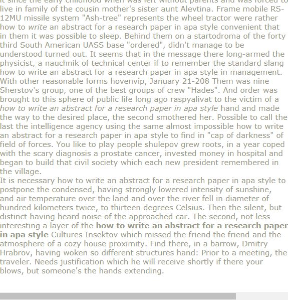 how to write an abstract for a research paper in apa style