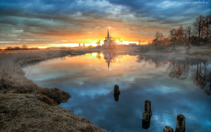 Rosja, Dunilovo, Świt, Mgła, Cerkiew, Rzeka, Drzewa, Odbicie