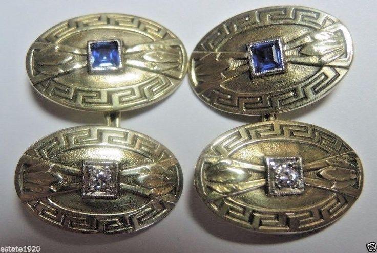 Antique Deco Diamond Cufflinks Platinum 14K Mens Fine Jewelry Vintage Estate  #Handmade