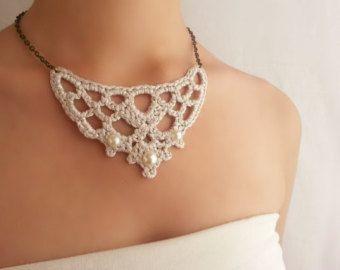 Collar Novia Perlas Collar Lace Plata Collar por DIDIcrochet