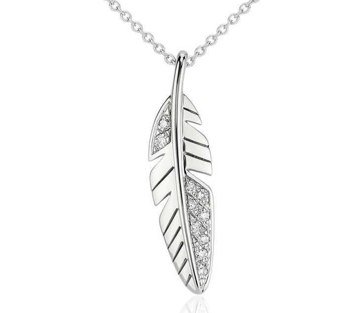 Mini Feather Diamond Pendant in 14k White Gold