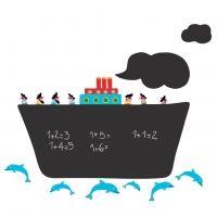 Nouvelles Images muursticker krijtbord boot groot