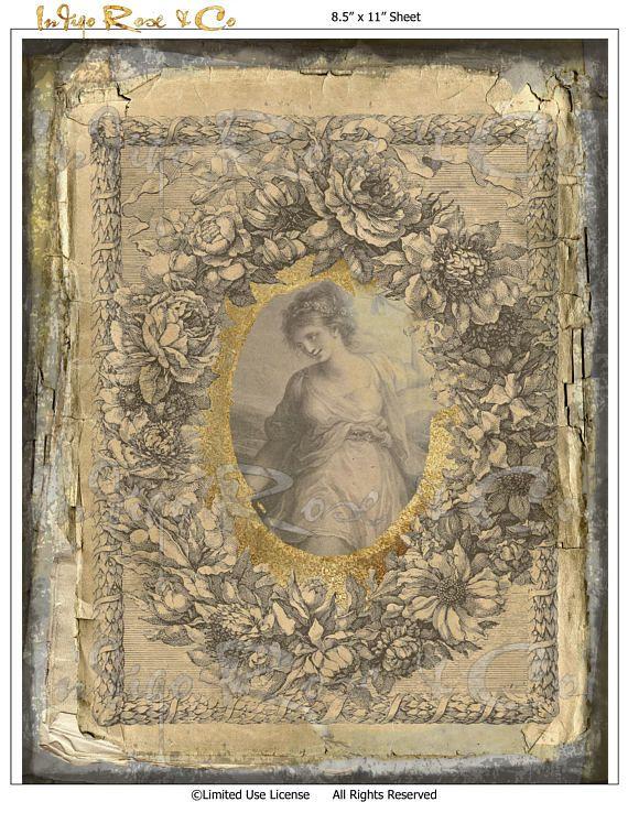 Download Old Paper FLORAL WREATH Digital Printables Vintage
