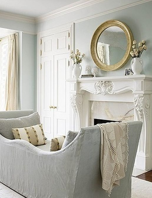 ✣ French Country Farmhouse ✣ day bed by fireplace coziness - love the softness of this room. The fireplace!