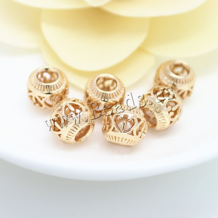 Hollow Brass Beads, Drum, 24K gold plated, nickel, lead & cadmium free