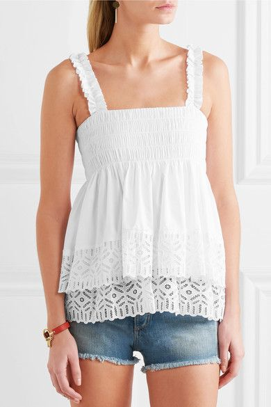 Tory Burch - Smocked Broderie Anglaise Cotton-blend Top - White