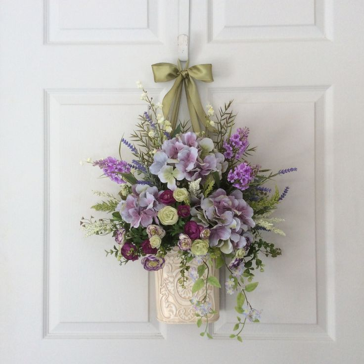 1352 best images about wreaths or hanging arrangements on Spring flower arrangements for front door