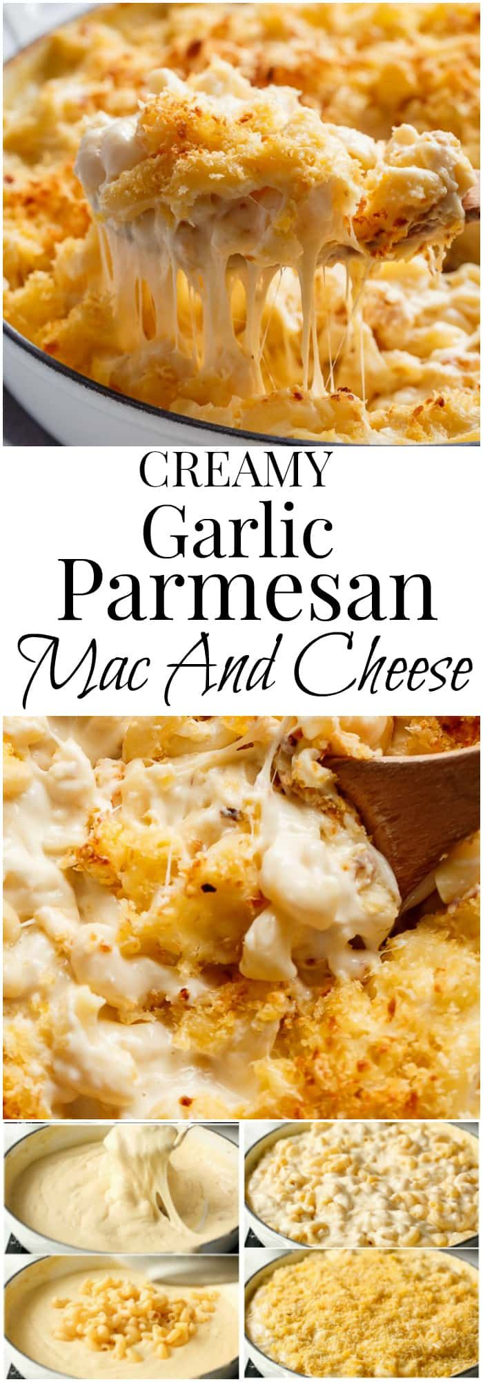 Garlic Parmesan Mac And Cheese is better than the original! A creamy garlic parmesan cheese sauce coats your macaroni, topped with parmesan fried bread crumbs, while saving some calories!   https://cafedelites.com