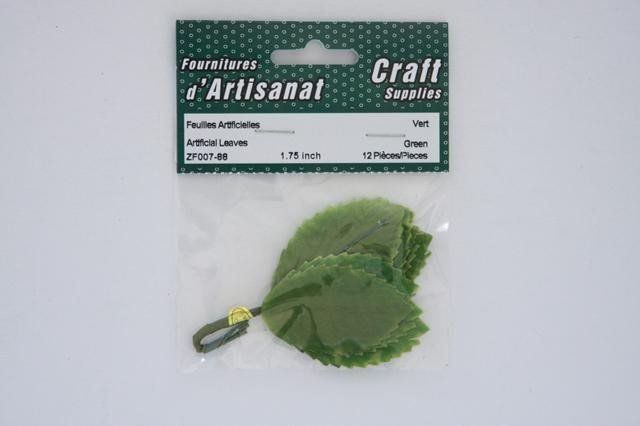 ZF007-88 Artificial Leaves 1.75 inch Green 12 Pieces