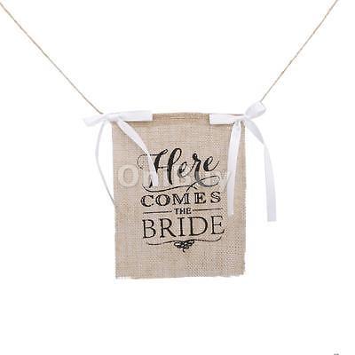 Here Comes the Bride décoration de mariage Burlap Bunting Bannière Rustic