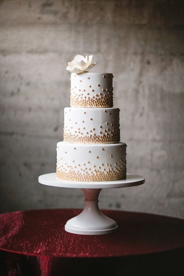 White Wedding Cake With Gold Polka Dot