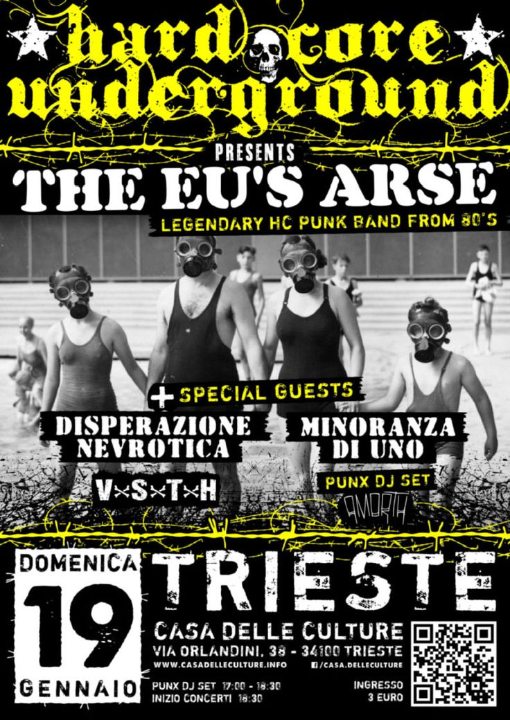 19/01/2014 - HARDCORE UNDERGROUND: THE EU'S ARSE (UD) + DISPERAZIONE NEVROTICA (TS) + MINORANZA DI UNO (UD) + AmortTh Punx DJ Set Live @CdC, Trieste #hardcorepunk #punkflyers #hardcoreundergroundts #eusarse #disperazionenevrotica #minoranzadiuno #vsth #vecchiascuolatriestehardcore #hardcorepunk #casadelleculture #trieste