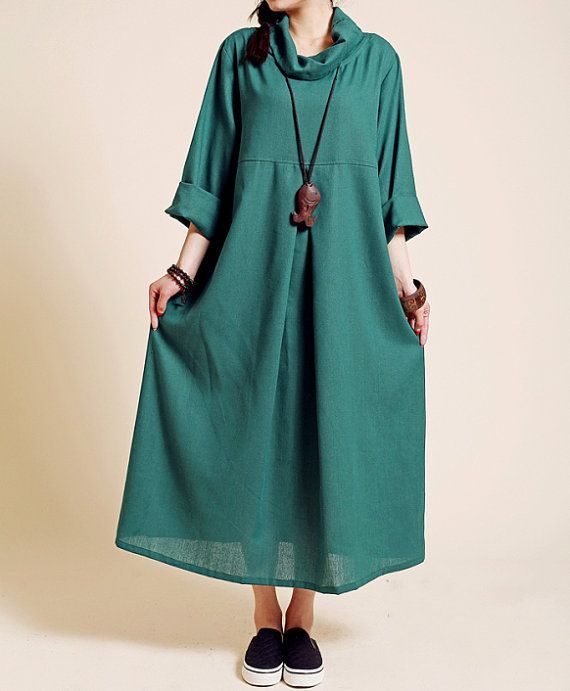 Linen Pile collar loose long sleeved long dress/ spring by MaLieb